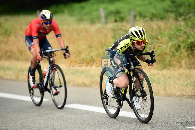 Simon Yates (GBR) Mitchelton-Scott attacks from the breakaway group during Stage 15 of the 2019 Tour de France running 185km from Limoux to Foix Prat d'Albis, France. 20th July 2019.<br /> Picture: ASO/Alex Broadway | Cyclefile<br /> All photos usage must carry mandatory copyright credit (© Cyclefile | ASO/Alex Broadway)