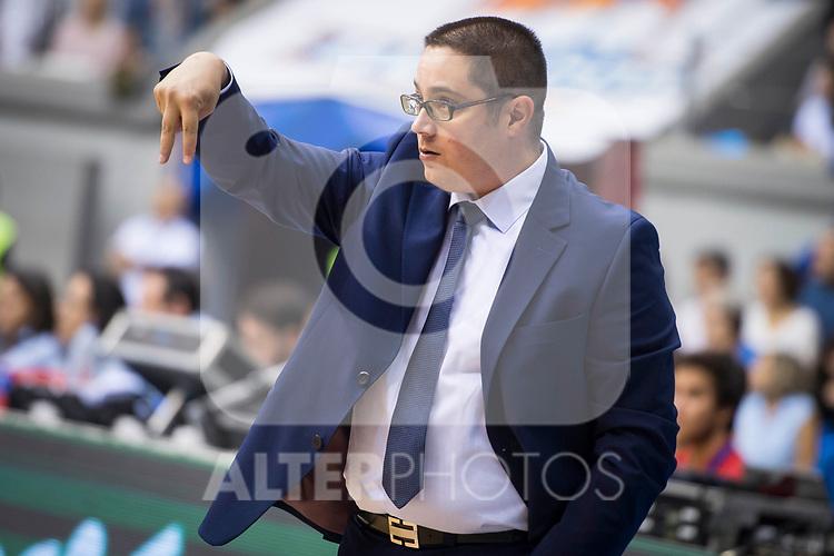 San Pablo Burgos's coach Diego Epifanio during Liga Endesa match between San Pablo Burgos and Iberostar Tenerife at Coliseum Burgos in Burgos, Spain October 01, 2017. (ALTERPHOTOS/Borja B.Hojas)
