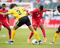PHILADELPHIA, PA - JUNE 30: Edgar Barcenas #10 and Michael Hector #3 contest the ball during a game between Panama and Jamaica at Lincoln Financial Field on June 30, 2019 in Philadelphia, Pennsylvania.