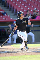 Kevin Torres (36) of the High Desert Mavericks bats against the Rancho Cucamonga Quakes at Heritage Field on August 7, 2016 in Adelanto, California. Rancho Cucamonga defeated High Desert, 10-9. (Larry Goren/Four Seam Images)
