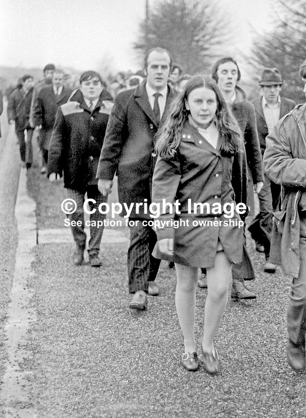 Local independent Mid-Ulster MP Bernadette Devlin taking part in a banned anti-internment march between Dungannon and Coalisland. Immediately behind her is Frank McManus, the Unity MP for Fermanagh &amp; S Tyrone. 23rd January 1972. 197201230083d<br />