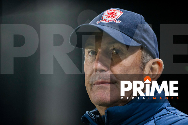 Middlesbrough manager Tony Pulis ahead of the FA Cup 4th round replay match between Newport County and Middlesbrough at Rodney Parade, Newport, Wales on 5 February 2019. Photo by Mark  Hawkins / PRiME Media Images.
