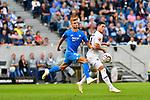 07.10.2018, wirsol Rhein-Neckar-Arena, Sinsheim, GER, 1 FBL, TSG 1899 Hoffenheim vs Eintracht Frankfurt, <br /> <br /> DFL REGULATIONS PROHIBIT ANY USE OF PHOTOGRAPHS AS IMAGE SEQUENCES AND/OR QUASI-VIDEO.<br /> <br /> im Bild: Stefan Posch (TSG 1899 Hoffenheim #38) gegen Luka Jovic (Eintracht Frankfurt #8)<br /> <br /> Foto &copy; nordphoto / Fabisch
