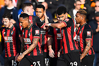 Joshua King of AFC Bournemouth is congratulated after scoring the first goal during AFC Bournemouth vs Wolverhampton Wanderers, Premier League Football at the Vitality Stadium on 23rd February 2019