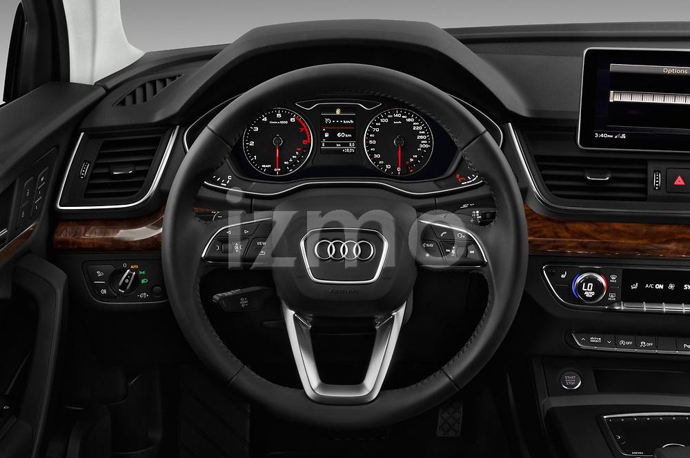 Car pictures of steering wheel view of a 2018 Audi Q5 Design 5 Door SUV