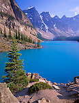 Banff National Park, Canada    <br /> Moraine Lake under the towering Wenkchenma Peaks - the Valley of Ten Peaks