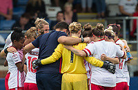 Stevenage Ladies team huddle during the pre season friendly match between Stevenage Ladies FC and Watford Ladies at The County Ground, Letchworth Garden City, England on 16 July 2017. Photo by Andy Rowland / PRiME Media Images.