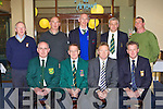 Kerry golf captains at the Kerry Captains AGM in Killarney Golf and Fishing club on Thursday night front row l-r: Seamus O'Shaugnessy Dooks, Tom Foley outgoing Captain, Michael Dowling Incoming Captain, Jack Buckley Killarney. Back row: Willie Barrett Ballyheigue, Aidan McAulliffe Waterville, Gerard Pierce Ardfert, Mark Hanley Killorglin and Brendan Stack Listowel