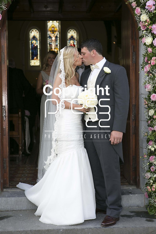 Ex Munster & Ireland Rugby Player Denis Leamy & Grainne  Brosnan pictured after their wedding in Rockwell College Church Co.Tipperary Picture Credit: Brian Gavin Press 22