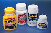 NON-STEROIDAL ANTI-INFLAMMATORY DRUGS<br /> NSAID's<br /> l-r: Aspirin, acetaminophen, ibuprofen and naproxen. NSAID's  inhibit the activity of cyclooxygenase-1 (COX-1) and cyclooxygenase-2 (COX-2) leading to antiinflammatory and analgesic relief