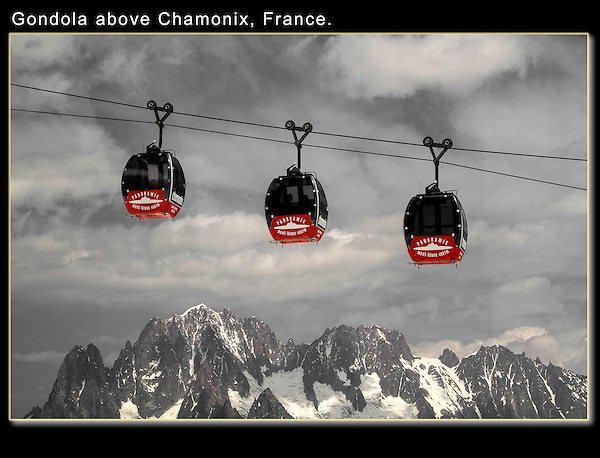 Photoshop, selective desaturation. Hellbrenner Gondola from the Aiguille du Midi, Chamonix, France.