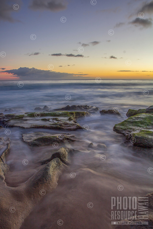 Evening glow along the shoreline of West O'ahu.