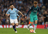 Tottenham Hotspur Deli Alli under pressure from Manchester City's Ilkay Gundogan<br /> <br /> Photographer Rich Linley/CameraSport<br /> <br /> UEFA Champions League - Quarter-finals 2nd Leg - Manchester City v Tottenham Hotspur - Wednesday April 17th 2019 - The Etihad - Manchester<br />  <br /> World Copyright © 2018 CameraSport. All rights reserved. 43 Linden Ave. Countesthorpe. Leicester. England. LE8 5PG - Tel: +44 (0) 116 277 4147 - admin@camerasport.com - www.camerasport.com