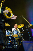 22/05/2006 Barbican Hall, London, England. Brazilian legends Mutantes play a reunion gig after 33 years. Original members on stage: Sergio Dias, Arnaldo Baptista, Ronaldo 'Dinho' Leme, with singer Zelia Duncan. Dinho Leme playing drums.
