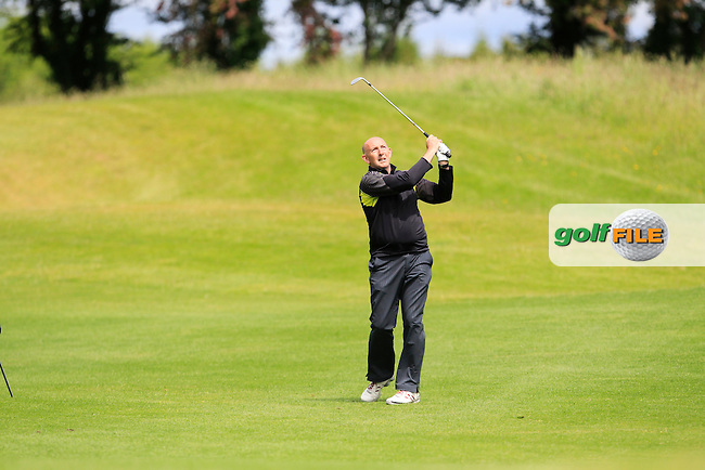 Tony McClements (Holywood) on the 18th fairway during Round 3 of the Irish Mid-Amateur Open Championship at New Forest on Sunday 21st June 2015.<br /> Picture:  Thos Caffrey / www.golffile.ie