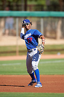 Los Angeles Dodgers Cristian Santana (77) during an Instructional League game against the Cleveland Indians on October 10, 2016 at the Camelback Ranch Complex in Glendale, Arizona.  (Mike Janes/Four Seam Images)