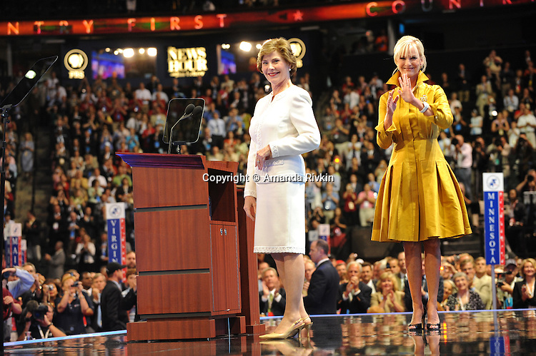 First Lady Laura Bush and wife of Republican presidential nominee Cindy McCain on day one of the Republican National Convention at the XCel Center in Saint Paul, Minnesota on September 1, 2008.  Convention activities have been scaled back considerably on day one due to Hurricane Gustav.
