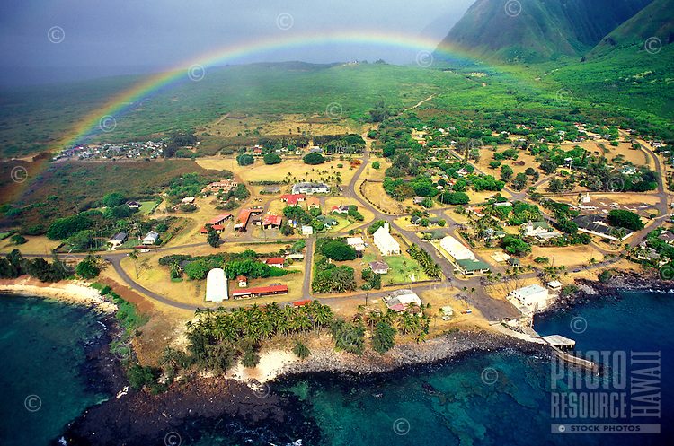 Aerial view of the Kalauapapa Peninsula, a colony used in historical times to isolate those with Hansen's disease.