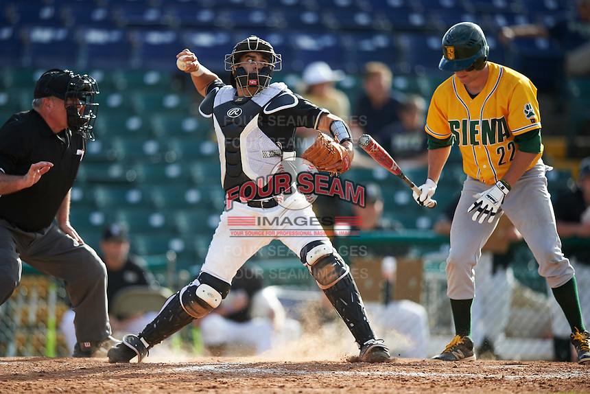 Pittsburgh Panthers catcher Manny Pazos (43) throws down to second base as Dan Swain (22) bats during a game against the Siena Saints on February 24, 2017 at Historic Dodgertown in Vero Beach, Florida.  Pittsburgh defeated Siena 8-2.  (Mike Janes/Four Seam Images)