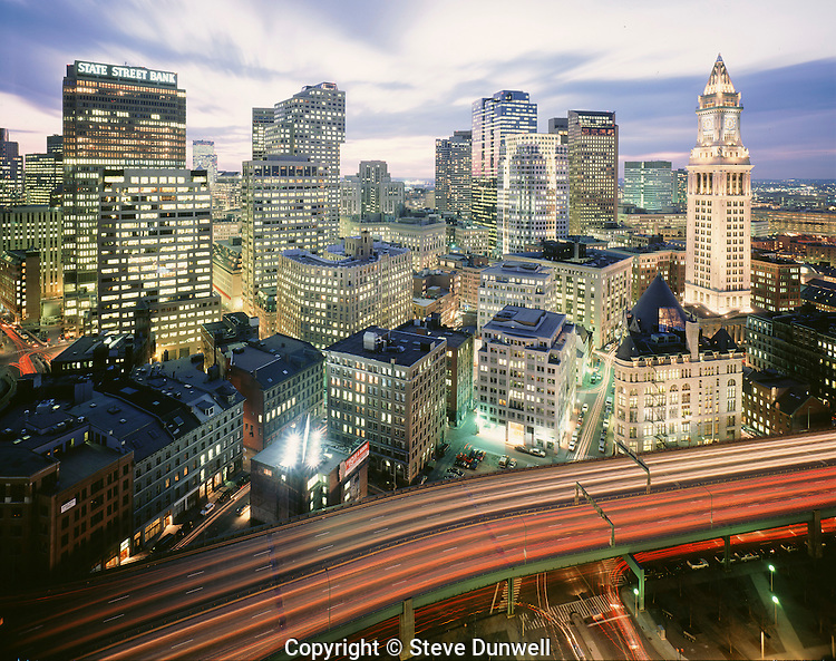 Downtown Boston at night, from Harbor Towers, with Customs House tower.