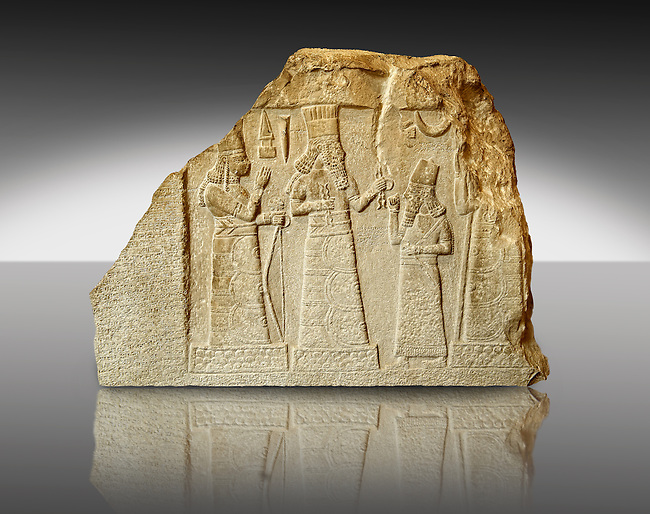 8th Cent. B.C Babylonian limestone funereal stele with inscription & relief sculpture of the governor of Mari and Suhi praying to the Gods from the Palace Museum Babylon, Iraq. The inscription states that the governor reigned for 13 years and built the city of Gabarri-ibni also making canals for new date palm cultivation in different cities, and working on the development of agriculture in the city of Suhi. Istanbul Archaeological Museum Inv. 7815