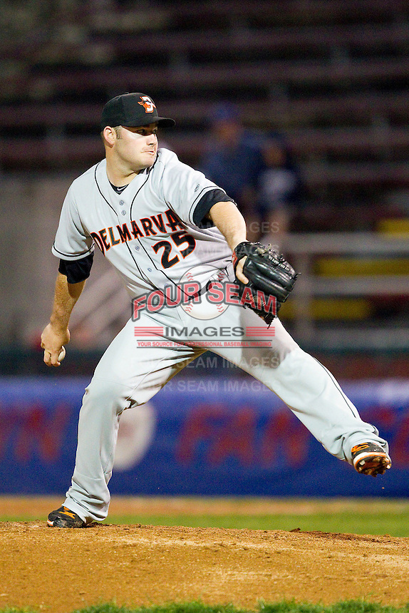 Delmarva Shorebirds relief pitcher Matt Price (25) in action against the Hagerstown Suns at Municipal Stadium on April 11, 2013 in Hagerstown, Maryland.  The Shorebirds defeated the Suns 7-4.  (Brian Westerholt/Four Seam Images)