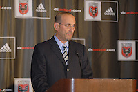 MLS Commissioner Don Garber addresses the press at the presentation of DC United Holdings as the new group that owns and controls the operating rights for DC United of Major League Soccer, January 8, 2007.