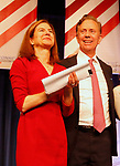 Hartford, CT-051918MK05 2018 Democrat nominee for  Lieutenant Governor Susan Bysiewicz stands with Ned Lamont as he accepts his party's nomination for governor at the 2018 Connecticut Democratic Convention in Hartford Saturday afternoon.  Michael Kabelka / Republican-American.