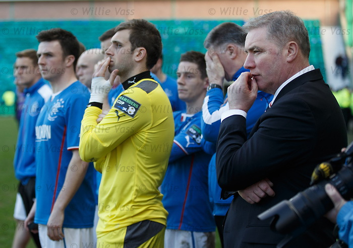 Rangers watch Raith Rovers lift the cup