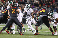 College Park, MD - October 22, 2016: Michigan State Spartans running back Gerald Holmes (24) runs the ball during game between Michigan St. and Maryland at  Capital One Field at Maryland Stadium in College Park, MD.  (Photo by Elliott Brown/Media Images International)
