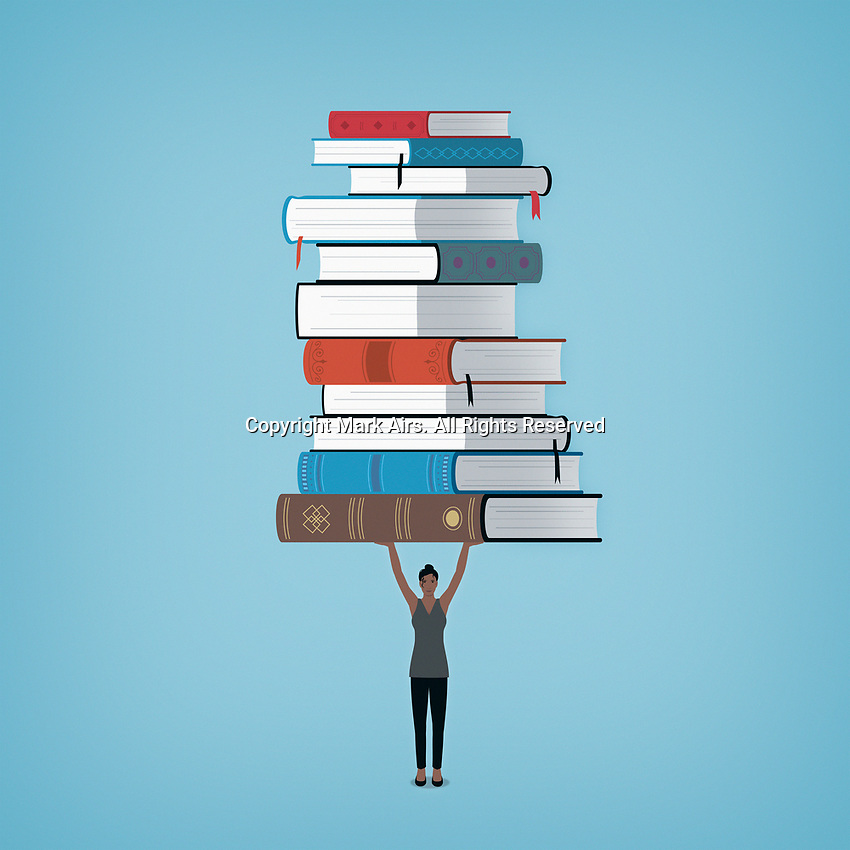 Woman holding large pile of books above her head