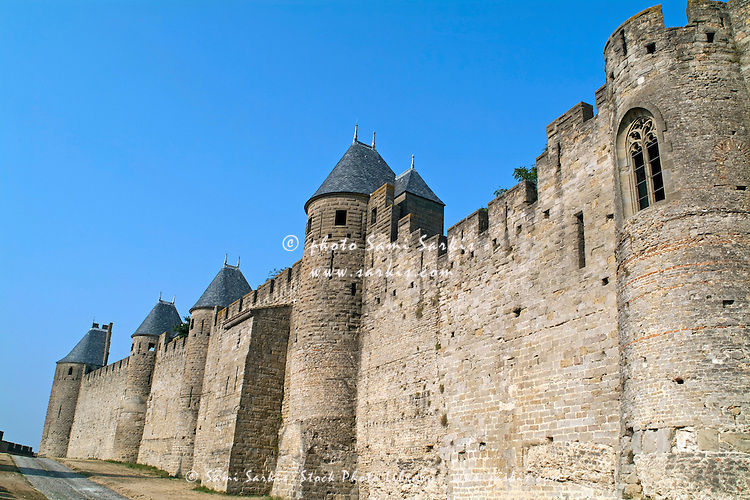Wall of the medieval city, Carcassonne, France.