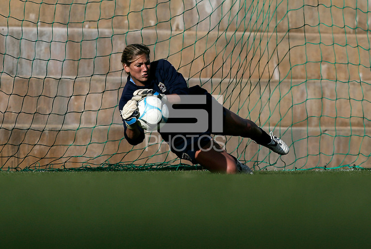 Hope Solo in action during the USA women's national team practice session at Montechoro Hotel soccer fields during the Algarve Women´s Soccer Cup 2008 in Albufeira, Portugal on March 09, 2008. Paulo Cordeiro/isiphotos.com