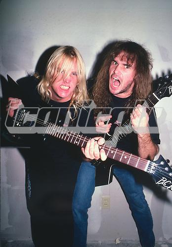 SLAYER - guitarists Jeff Hanneman and Kerry King - Photosession at Warner Bros in Burbank CA USA - March 1987.  Photo credit: David Plastik/IconicPix