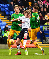 Preston North End's Alan Browne and Brad Potts compete with Bolton Wanderers' Clayton Donaldson<br /> <br /> Photographer Richard Martin-Roberts/CameraSport<br /> <br /> The EFL Sky Bet Championship - Bolton Wanderers v Preston North End - Saturday 9th February 2019 - University of Bolton Stadium - Bolton<br /> <br /> World Copyright © 2019 CameraSport. All rights reserved. 43 Linden Ave. Countesthorpe. Leicester. England. LE8 5PG - Tel: +44 (0) 116 277 4147 - admin@camerasport.com - www.camerasport.com