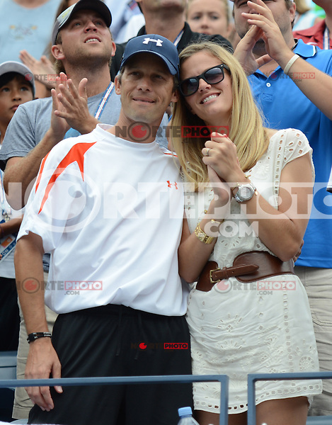 FLUSHING NY- SEPTEMBER 2: Brooklyn Decker and Andys coach Larry Stefanki watching her husband Andy Roddick celebrate after forth set victory Fabio Fognini on Arthur Ashe stadium at the USTA Billie Jean King National Tennis Center on September 2, 2012 in in Flushing Queens. Credit: mpi04/MediaPunch Inc. ***NO NY NEWSPAPERS*** /NortePhoto.com<br />