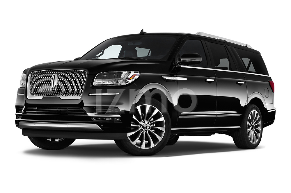 Stock pictures of low aggressive front three quarter view of a 2019 Lincoln Navigator Select L Extended 4x2 5 Door SUV