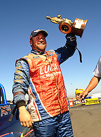 Jul. 18, 2010; Sonoma, CA, USA; NHRA super gas driver Shawn Langdon celebrates after winning the Fram Autolite Nationals at Infineon Raceway. Mandatory Credit: Mark J. Rebilas-