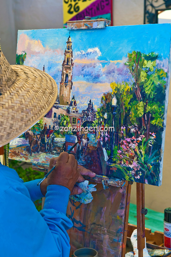 Fine Artist, Painting, Spanish Village, Art Center, Balboa Park, San Diego, Ca