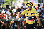 Race leader Yellow Jersey Greg Van Avermaet (BEL) BMC Racing Team at the start of Stage 5 of the 2018 Tour de France running 204.5km from Lorient to Quimper, France. 11th July 2018. <br /> Picture: ASO/Pauline Ballet | Cyclefile<br /> All photos usage must carry mandatory copyright credit (&copy; Cyclefile | ASO/Pauline Ballet)