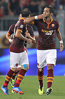 ROME, Italy - September 29, 2013: Roma beats Bologna 5-0 during the Serie A match in Olimpico Stadium. In the photo Mehdi Benatia celebrating the goal of 3-0