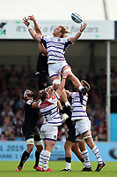 David Denton of Leicester Tigers looks to claim the ball at a lineout. Gallagher Premiership match, between Exeter Chiefs and Leicester Tigers on September 1, 2018 at Sandy Park in Exeter, England. Photo by: Patrick Khachfe / JMP