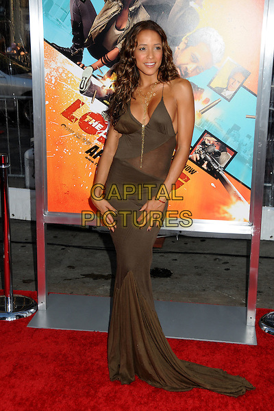 "DANIA RAMIREZ .""The Losers"" Los Angeles Premiere held at Grauman's Chinese Theatre, Hollywood, California, USA, .20th April 2010..full length long maxi green khaki gold necklace chain dress cleavage sheer train .CAP/ADM/BP.©Byron Purvis/AdMedia/Capital Pictures."