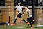 Jon Bakero (7) and Bruno Lapa (10) of the Wake Forest Demon Deacons celebrate after Bakero scored on a penalty kick in the 89th minute against the Columbia Lions in the second round of the 2017 NCAA Men's Soccer Championship at Spry Soccer Stadium on November 19, 2017 in Winston-Salem, North Carolina.  The Demon Deacons defeated the Lions 1-0.  (Brian Westerholt/Sports On Film)
