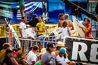 HONOLULU - (Thursday, November 15, 2012) Maxime Huscenot (REU), Pancho Sullivan (HAW), Flynn Novak (HAW) and Tom Whitaker (AUS). -- The REEF Hawaiian Pro at Haleiwa Ali'i Beach Park - the first jewel of the $1million Vans Triple Crown of Surfing was ready for an 8am start this morning but was put on hold till 12.30 pm because of small surf conditions.  As the surf increased during the afternoon the first 12 heats of the Round of 128 were completed with Mason Ho (HAW) scoring the 'wave of the day' on the last wave of the last heat. Ho scored a double barrel to easily win his heat.  Photo: joliphotos.com