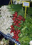 Spring onions and radishes for sale at farmers market,Tenerife, Canary Islands.