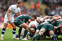 Ben Youngs of Leicester Tigers puts the ball into a scrum. Aviva Premiership match, between Leicester Tigers and Bath Rugby on September 3, 2017 at Welford Road in Leicester, England. Photo by: Patrick Khachfe / Onside Images