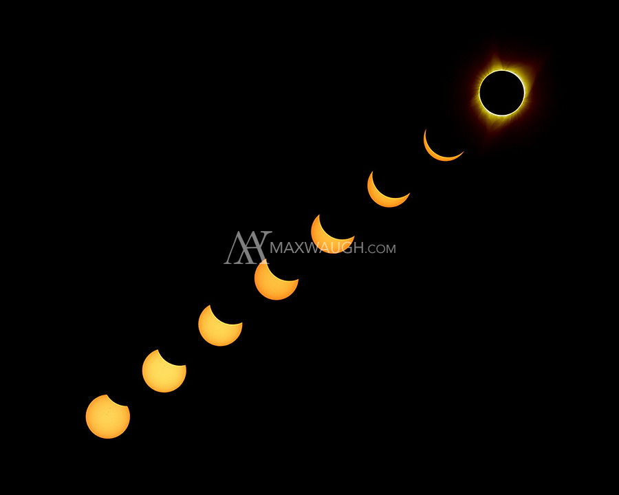 A composite showing the 2017 solar eclipse from beginning to totality.  The yellow color on the partials was caused by the solar filter on the camera.  I matched the tone of the totality image for artistic effect.