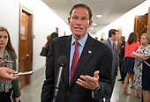 United States Senator Richard Blumenthal (Democrat of Connecticut) makes a statement to the media in the hallway during a break in the testimony of Dr. Christine Blasey Ford  before the US Senate Committee on the Judiciary on the nomination of Judge Brett Kavanaugh to be Associate Justice of the US Supreme Court to replace the retiring Justice Anthony Kennedy on Capitol Hill in Washington, DC on Thursday, September 27, 2018.   <br /> Credit: Ron Sachs / CNP<br /> (RESTRICTION: NO New York or New Jersey Newspapers or newspapers within a 75 mile radius of New York City)