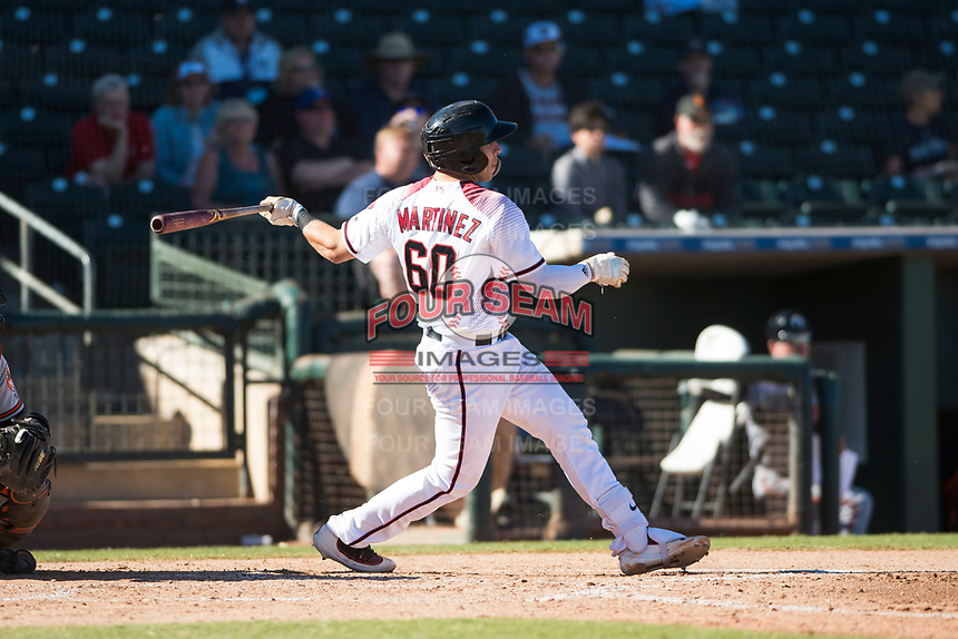 Surprise Saguaros catcher Renae Martinez (60), of the Arizona Diamondbacks organization, follows through on his swing during an Arizona Fall League game against the Glendale Desert Dogs at Surprise Stadium on November 13, 2018 in Surprise, Arizona. Surprise defeated Glendale 9-2. (Zachary Lucy/Four Seam Images)